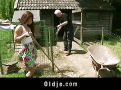 Countryside oldman fucks his sweet teenie neighbor girl