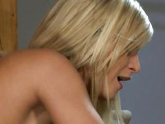 Cute blonde with natural full tits does it all in anal sofa sex