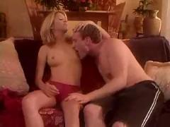 Tight blond seduced at home