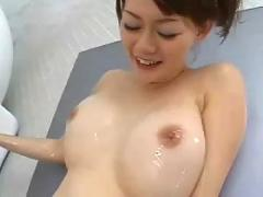Japanese chick gets creampie in the bathroom