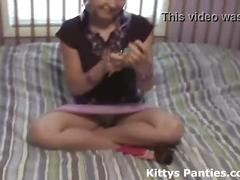 18yo teen kitty playing with her dolls