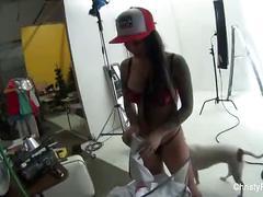 Christy mack on set