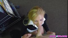 Blonde milf gets porked in a pawn shop
