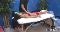 Naked hot teen banged and massaged with oil