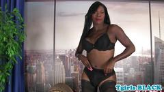 Bigass ebony trans masturbates in stockings