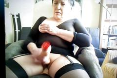 bigtits, granny, masturbation, mature, old, solo, stockings, vibrator, webcam
