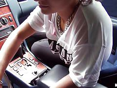 blowjob, picked up, hitchhiker, pov, car, brunette teen, stranded teens, mofos network, vanessa rodriguez