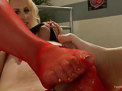 blonde, threesome, footjob, nylon, domination, milfs, foot worship, foot worship, kink, dylan ryan, aiden starr, cliff adams