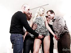 Lustful blonde handles a few hard ones @ 4 on 1 gang bangs #03