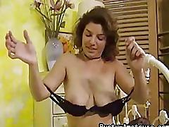 Busty amateur serena strips and start masturbating her pussy with dildo