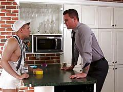 big cock, deepthroat, threesome, office sex, tattoo, muscular, watching, the gay office, men.com, beau reed, ethan chase