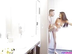 babe, shower, big dick, from behind, pierced nipples, pov sex, standing sex, stepbro, stepsiblings, step siblings caught, nubiles porn, brad knight, olivia lua