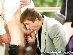 Group orgy slut sucks cock