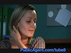 Publicagent office secretary fucked by a huge cock in the toilet