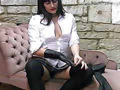 Hot schoolgirl discovers naughty feel of mums leather gloves on her boobs