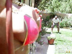 blonde, massage, babe, outside, busty, oiled, pov, dirty masseur, brazzers network, august taylor, keiran lee
