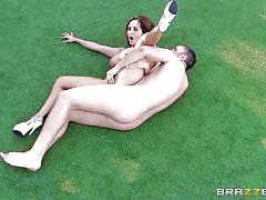 Busty ava has anal sex on the grass