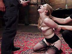interracial, blowjob, tied up, from behind, blonde babe, ball gag, rope bondage, slave training, the training of o, kink, mickey mod, ela darling