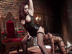bdsm, whipping, rimjob, lesbian domination, brunette babes, ball gag, clothespins, bondage cage, device bondage, rope bondage, whipped ass, kink, mia austin, chanel preston
