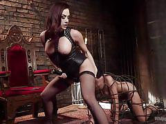Busty mistress using her sex slave