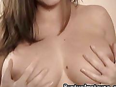 Busty amateur sarah masturbates with dildo