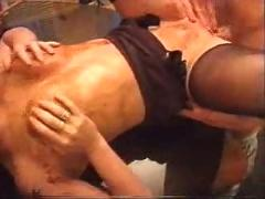 British mature slut fucks in kitchen. o.o