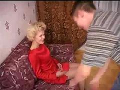 Russian mom helps son with shower than she has sex with him