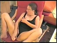 masturbation, orgasm, amateur, german, wife, mature, granny, glasses, toys, dildo