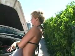 Blonde interracial mature threesome