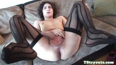 Auditioning trans beauty wanks hard cock solo