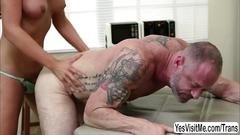 Horny shemale nurse chanel santini keeps her mature patient relax by fucking his ass