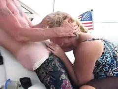 Boat whore giving blow job