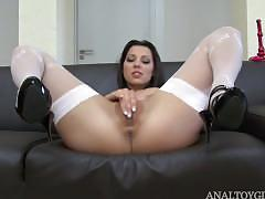 masturbation, toys, anal, ass-fucking, masturbating, toying-ass, gaping, euro, hungarian, petite, small-tits, teasing, stockings, solo, brunette, landing-strip