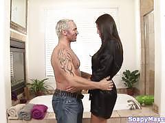 Marcus london gets beti hana at his soapy massage