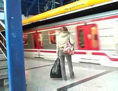 Brunette sucks cock at the train station part 1