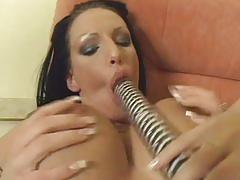 lesbian, tube8.com, girl on girl, lezzies, lesbos, dykes, dildo, toys, brunette, busty, big tits, fishnets, shaved pussy, assplay