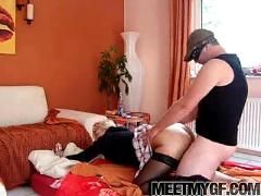 Cute blonde fucks her bf on their bed