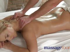 Massage rooms young busty babe has big tits oiled