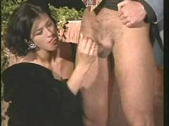 Mature brunette fucked in fur outside