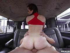 Sexy brunette babe is picked up and played with