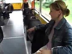 Huge big tits lady milking in the public tram