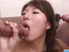 Luscious asian fucked in threesome
