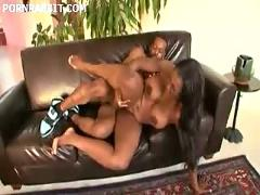 Hot black chick with huge ass rides cock