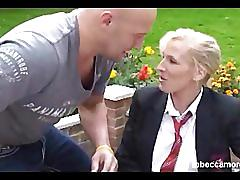 Busty blonde as slutty schoolgirl rebecca more fucked and spunked on