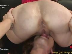 Hot blonde babe double penetrated and gets jizzed.