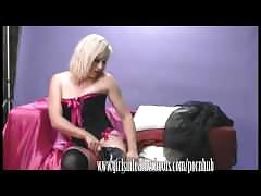Horny blonde in thigh high boots fingers with her soaking wet pussy