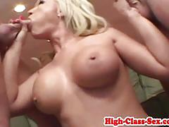 Blonde devours this hard dick