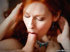 Redhead devours this hard cock