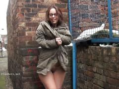 Geeky outdoor public nudity of sexy skinny babe flashing