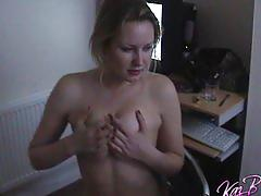 lesbian, strip, kazbxxx.com, british, blonde, girl girl, schoolgirl, college, uniform, masturbating, natural tits